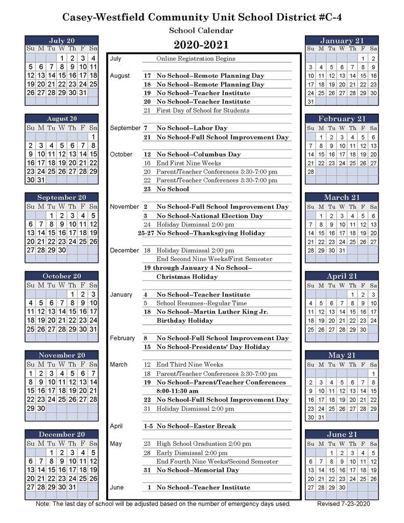 2020-2021 Casey-Westfield C-4 District Calendar