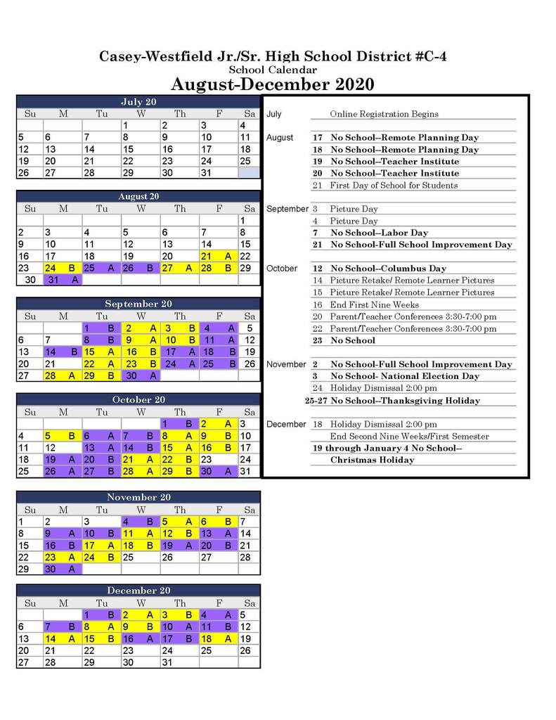 2020 Purple/Gold Calendar